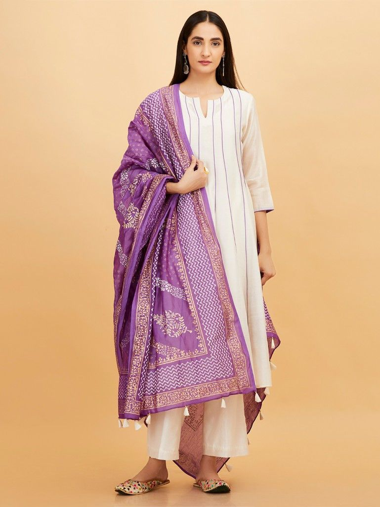 0a0c6b64125a Purple Hand Block Printed Chanderi Dupatta. Off White ...