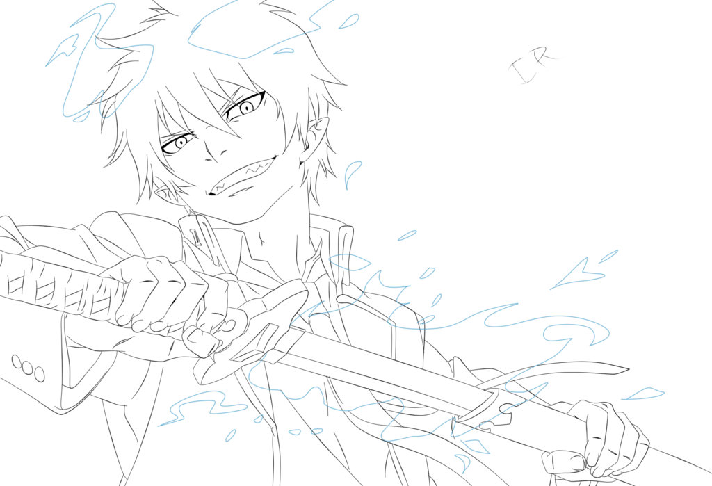 картинки карандашом синий экзорцист оторвать взгляда самоцвета