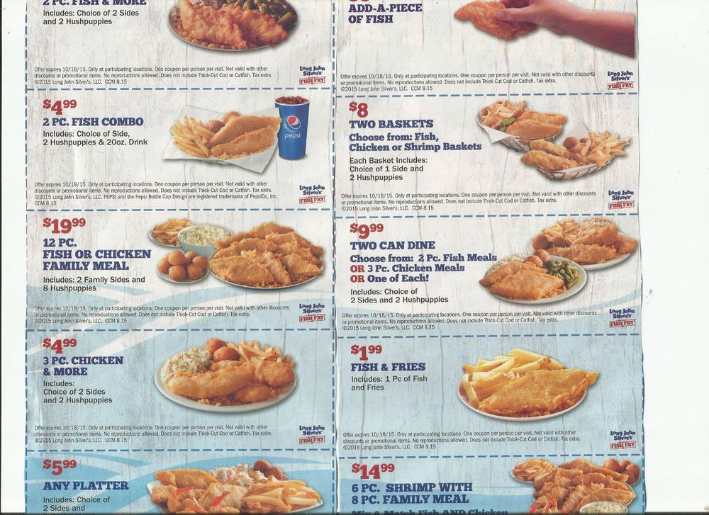 graphic about Long John Silver's Printable Coupons named 26 SEAFOOD Coupon codes CAPTAIN DS Lengthy JOHN SILVERS Instant Meals