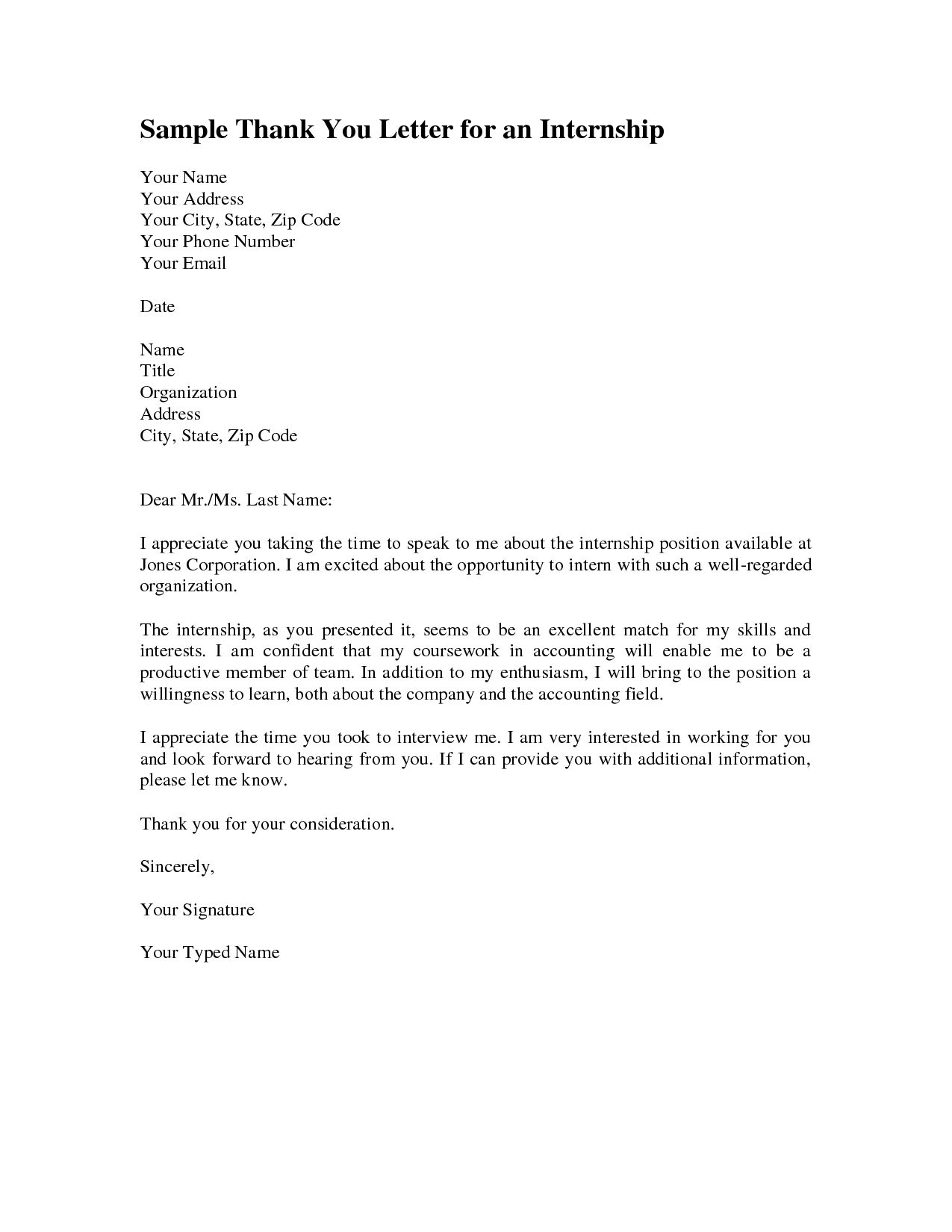best solutions of thank you cover letter for internship in