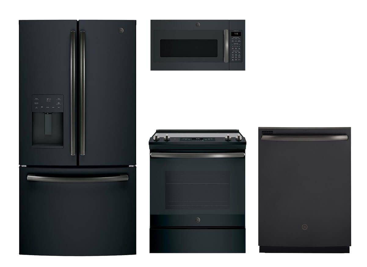 Ge Black Slate 4 Pc Appliance Suite Kitchen Appliances Slate Appliances Kitchen Kitchen Appliance Packages