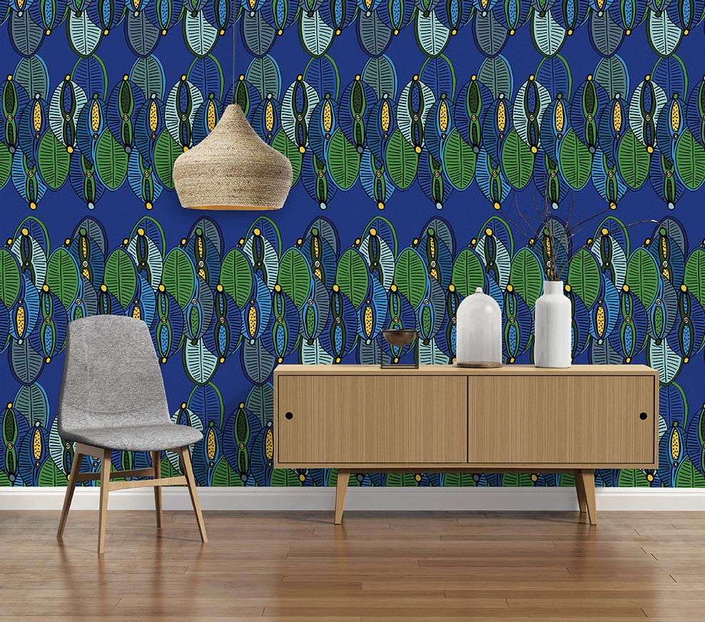 Décor mural wax Dinka , Collection Au fil des Couleurs x Sandrine Alouf  papierpeint