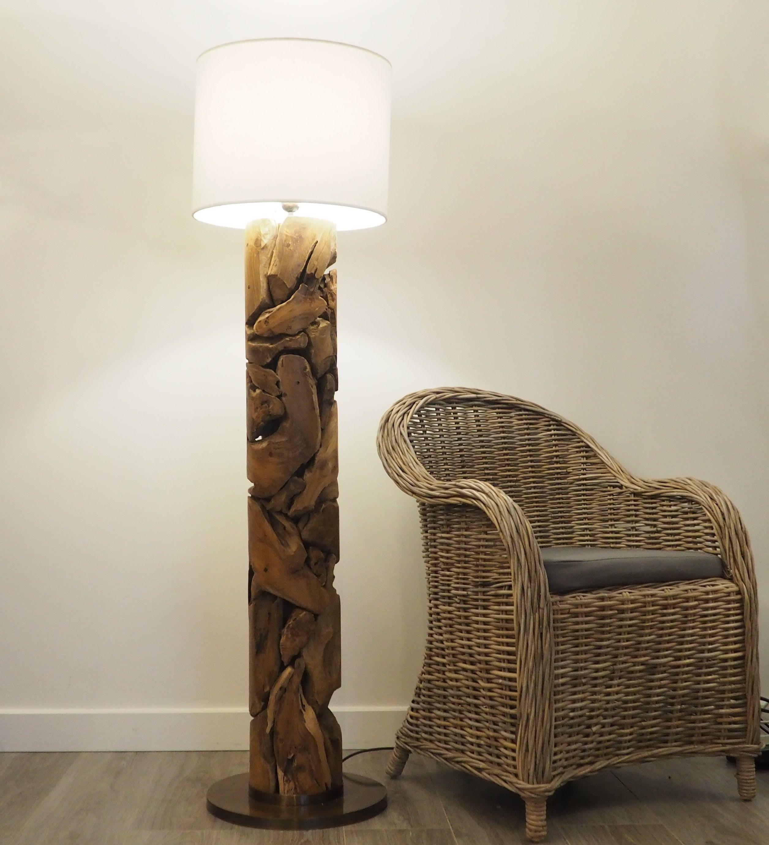This Impressive Tubular Floor Lamp Medium Is Made Up Of Rustic Teak Wood With Each Piece Of Teak Woven Wood Floor Lamp Rustic Wood Floors Rustic Floor Lamps