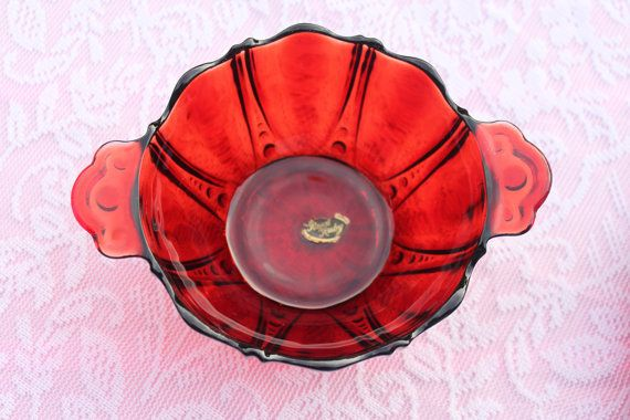 Q6 Royal Ruby Red Bon Bon Bowl ONLY Mint with by CRAZYMARYSFINDS