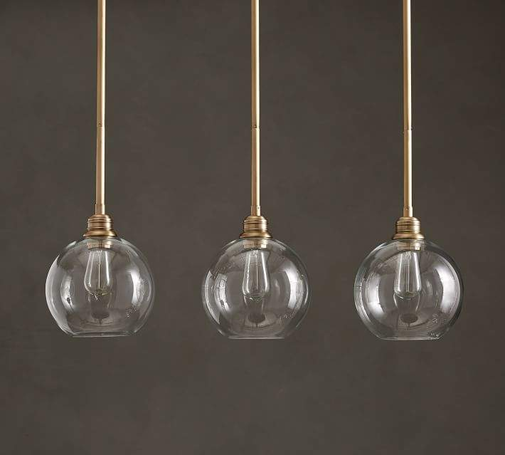 Pb Clic 3 Light Pendant With Gl Globe Shade Fit Filament Recommended