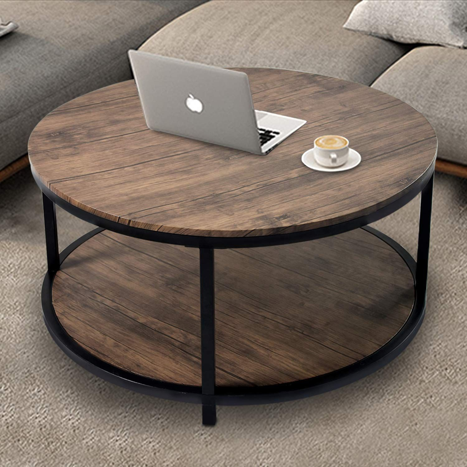 """36"""" Wood Round Coffee Table, Industrial Wood Top & Sturdy Metal Legs for Living Room Modern ..."""