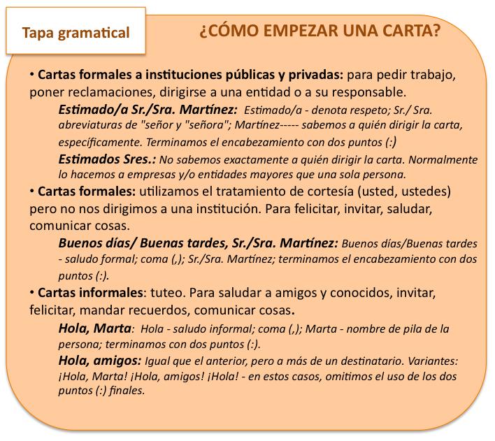 Cómo Empezar Una Carta El Blog Para Aprender Español Tipos De Texto Aprender Español Tipologias Textuales