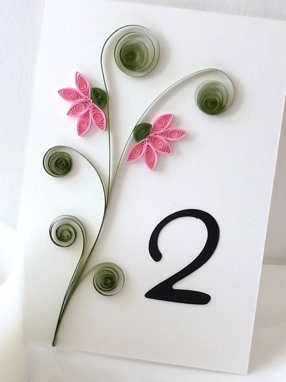 wedding table number cards custom order