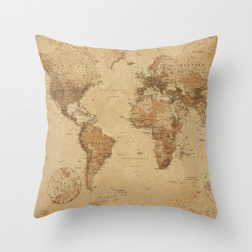 Vintage aged world map throw pillow cover 16x16 pillow pillow case world map vintage style art poster print poster print collections poster print gumiabroncs