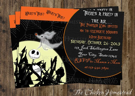 Love this idea Solo wasnt to do this for my next party – Nightmare Before Christmas Birthday Invitations