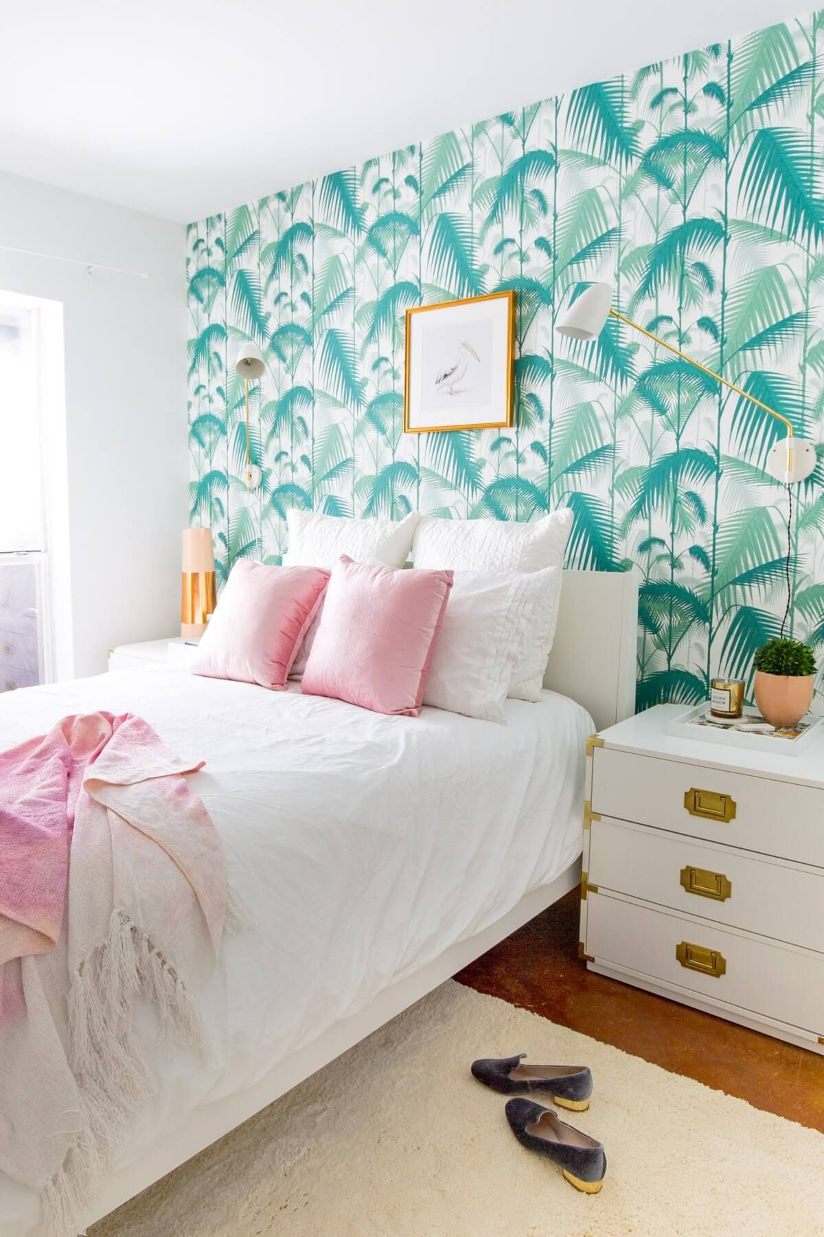 Pink, White, and Turquoise with Palm Wallpaper | Palm | Tropical ...