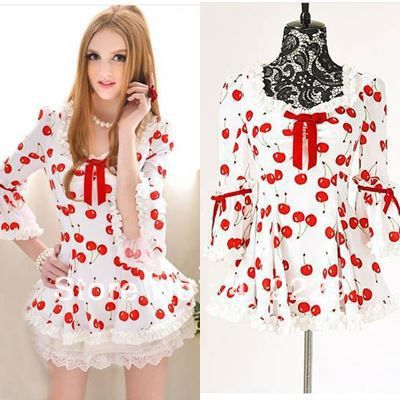 Voorjaar 2014 nieuwe witte gemalen rode kers afdruk top romantische half mouw schattige blouse shirts buigen baljurk losse SL
