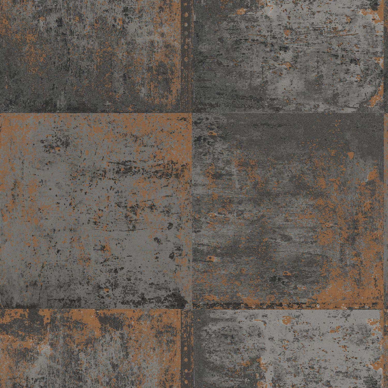 Black & Copper Distressed Metal Panel Wallpaper