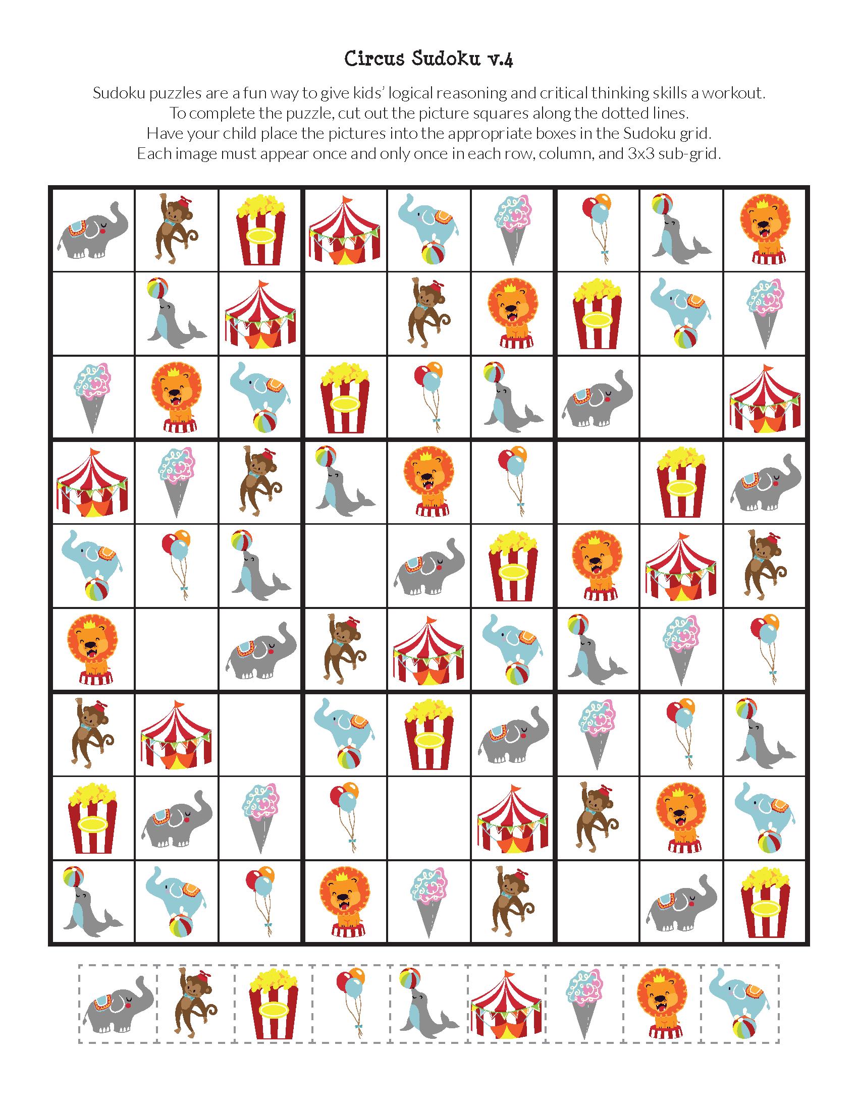 Circus Sudoku Free Printables Met Afbeeldingen