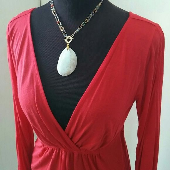 BCBG TOP BCBG bright red long sleeve top with low V cut in front & back.  100% Rayon. BCBGMaxAzria Tops Blouses