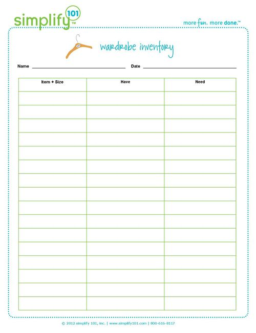 Free Wardrobe Inventory Printable To Help Organize Your Closets