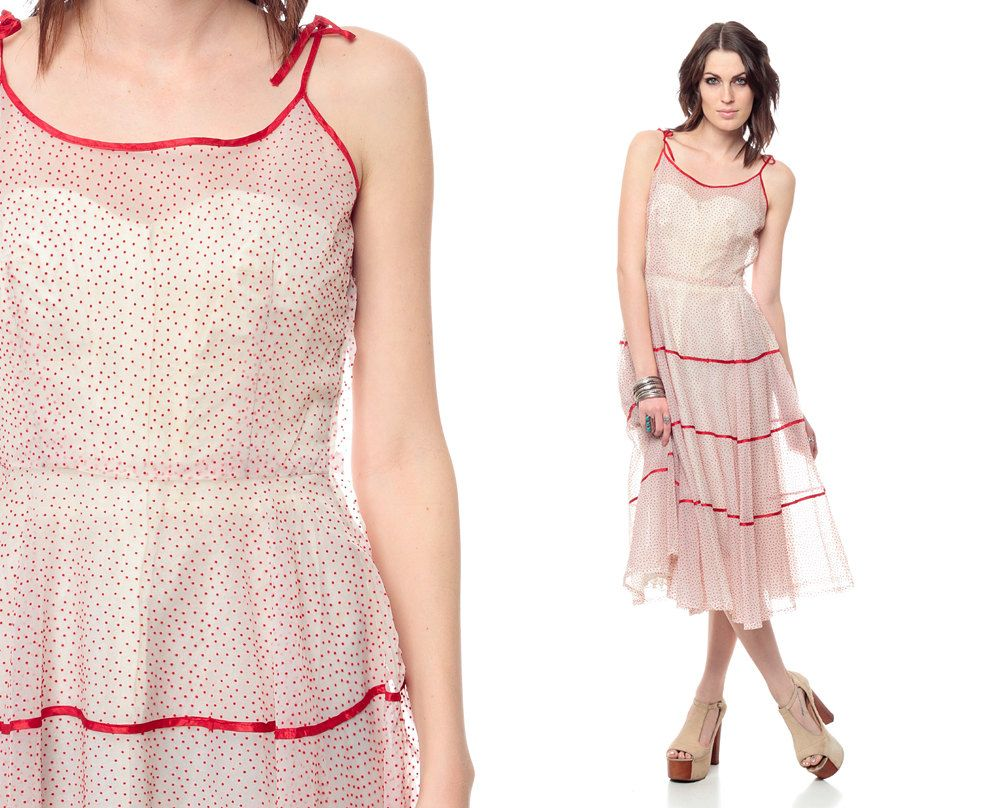 S sheer party dress white red tiered prom s polka dot white