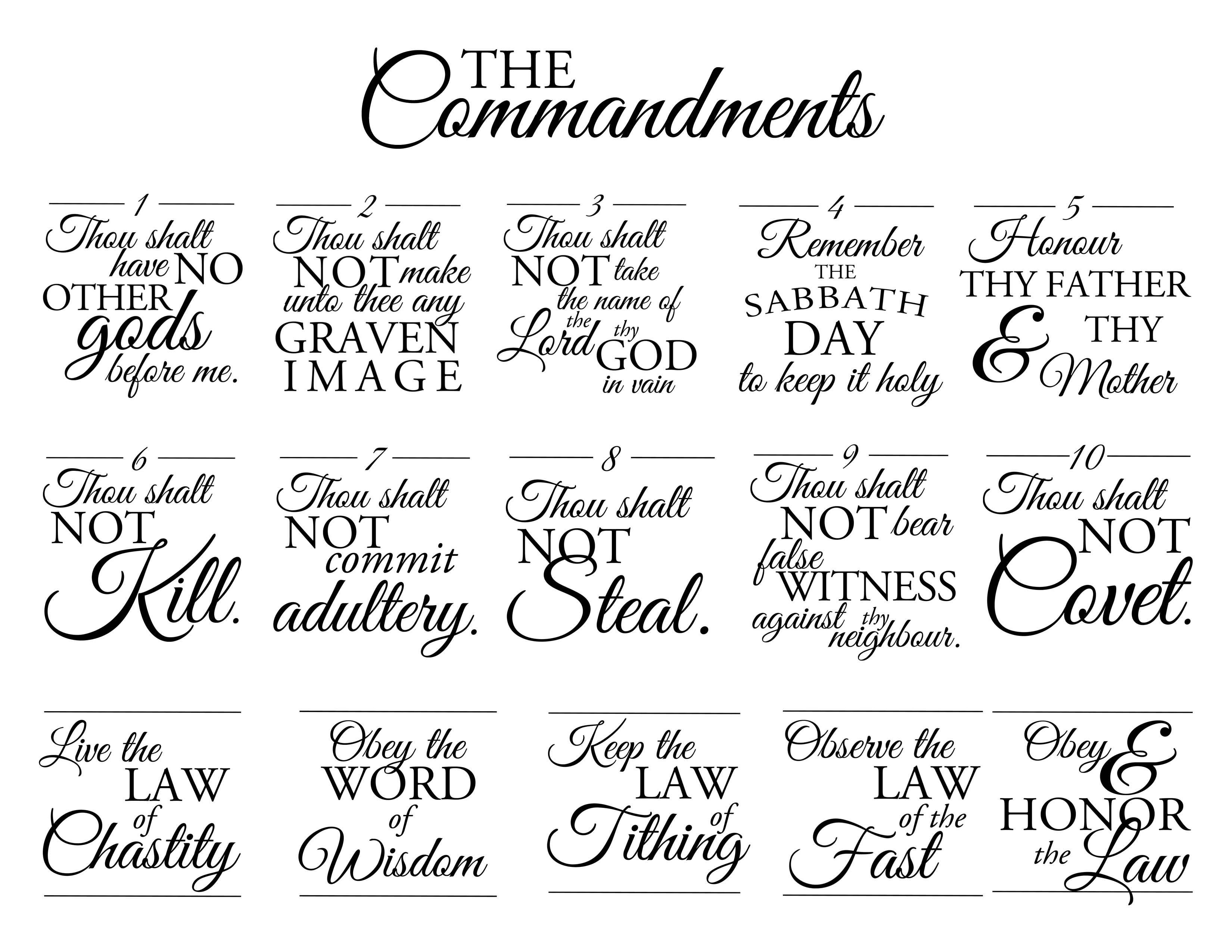 The Commandments One Page Ex 20 Exodus 20