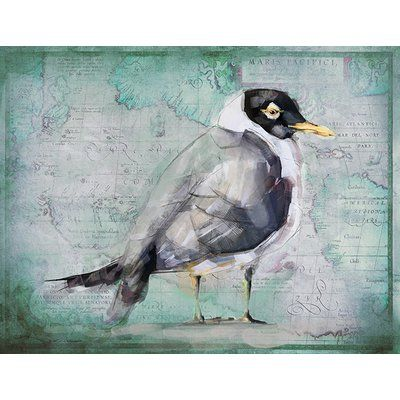 Vintage Signs 'Hooded Gull' by Anthony Morrow Painting Print on Wood