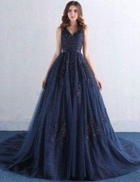 navy blau abendkleider lang spitze tüll abiballkleider ballkleider online modellnummer yy379 in