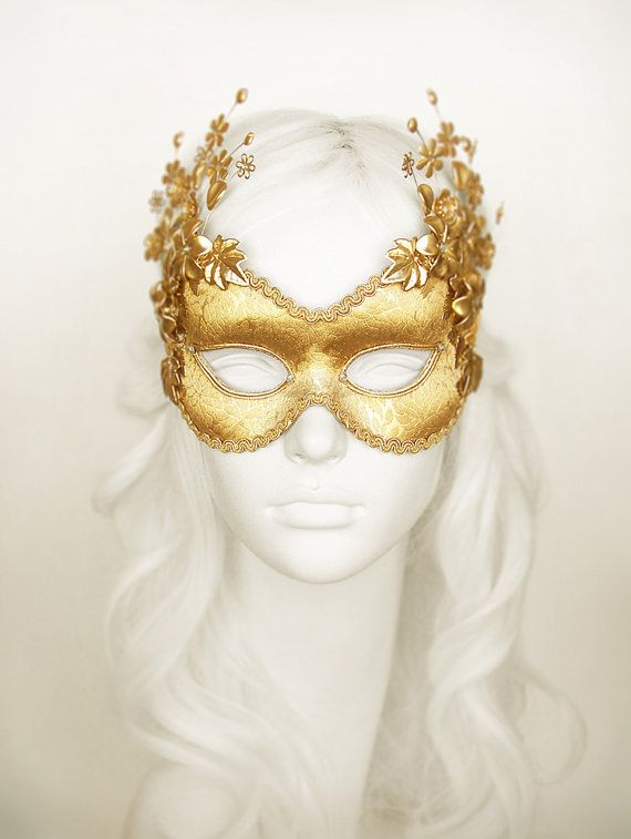 Pure Gold Masquerade Mask With Metallic Flowers   by SOFFITTA