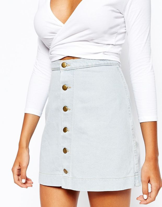 American Apparel High Rise 70s Denim Skirt With Button Front Detail at asos.com