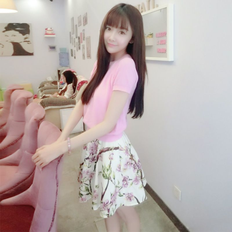 ==> [Free Shipping] Buy Best like summer flower dream sweet cherry blossom pink short-sleeved sweater wholesale  peach blossom skirt suit B0619 Online with LOWEST Price | 32802624359
