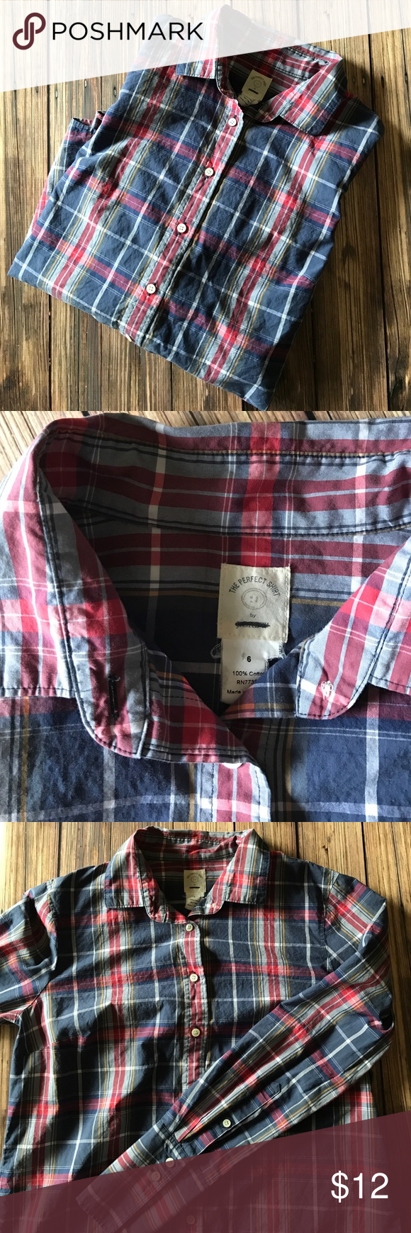"""J. Crew Blue Plaid """"The Perfect Shirt"""" Button Down J. Crew """"The Perfect Shirt"""" blue, red, white, & yellow plaid button down shirt. Excellent condition. Tag is ripped & logo marked out. Longer cuffs than a traditional button down. Size 6. Bundle and save! J. Crew Tops Button Down Shirts"""
