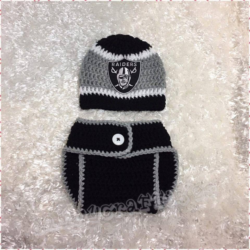 Crochet Oakland Raiders Baby Hat