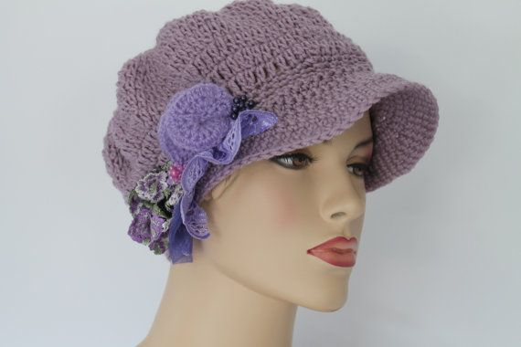 Dusty Lilac   Crocheted  Hat  Cap  OOAK  Holiday от lucylev