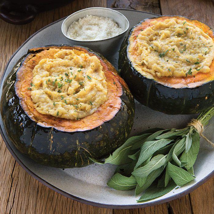 Polenta Stuffed Kabocha Squash Recipe With Images Recipes Squash Recipes Kabocha Squash