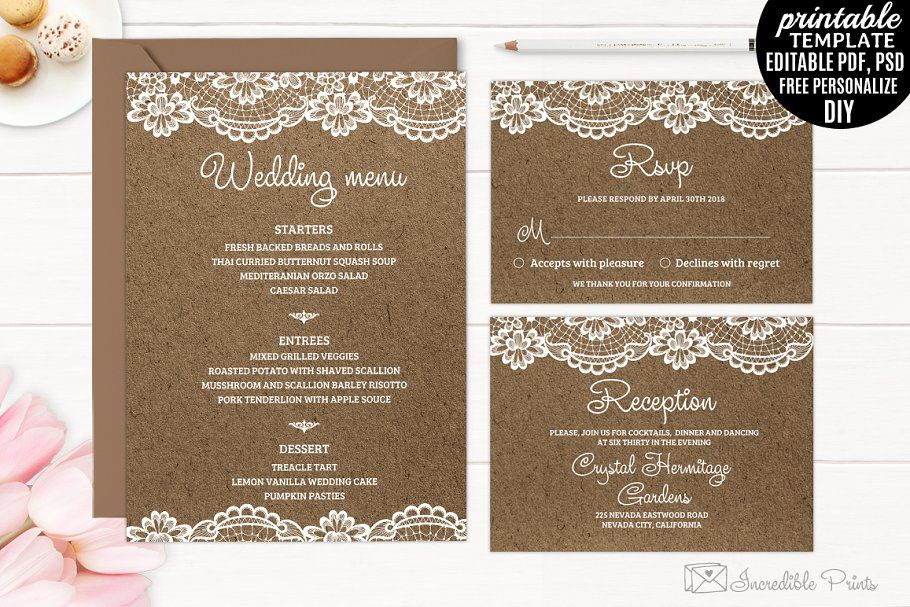 Kraft Paper and Lace Wedding Invite in 2020 Wedding
