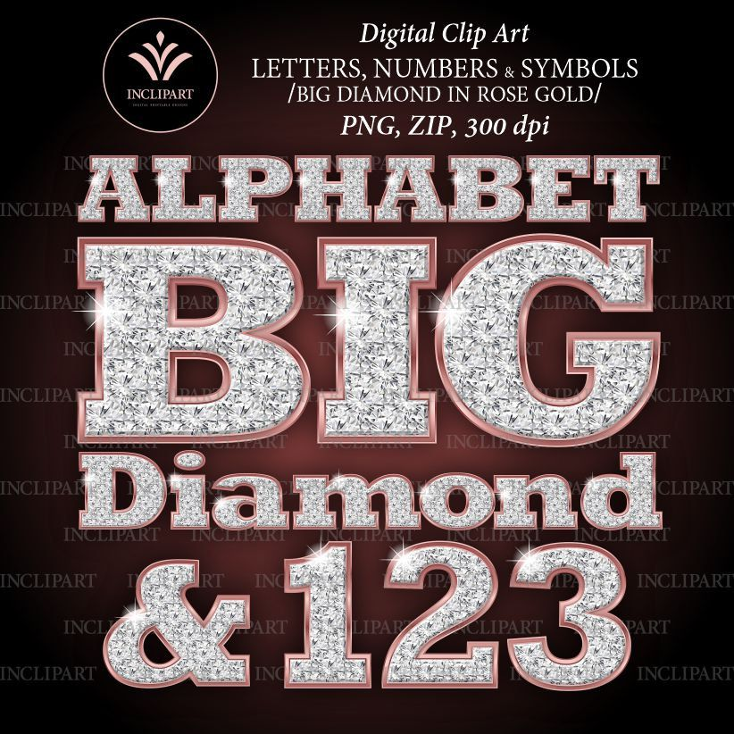 Diamond In Rose Gold Numbers Letters Clipart Png File Etsy Clip Art Digital Alphabet Letters