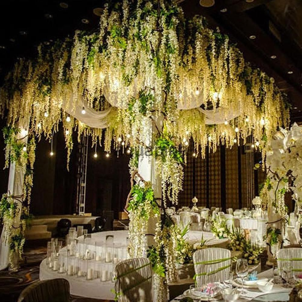 12x artificial silk wisteria hanging flower ivy vine wedding diy 12x artificial silk wisteria hanging flower ivy vine wedding diy decor white unbranded junglespirit Images