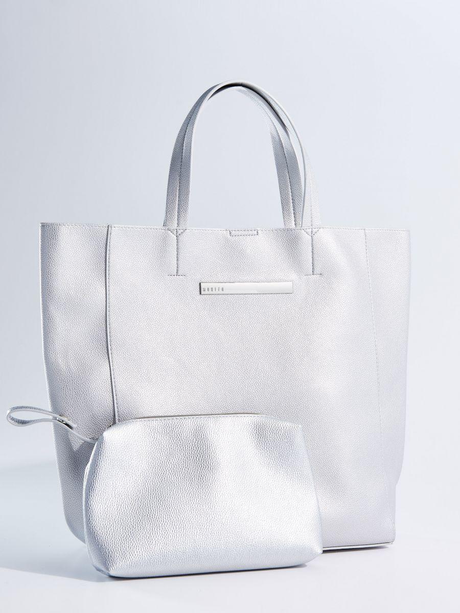 a036853bbb Nagy shopper táska neszeszerrel - ezüst - TI847-SLV - Mohito - 1 ...
