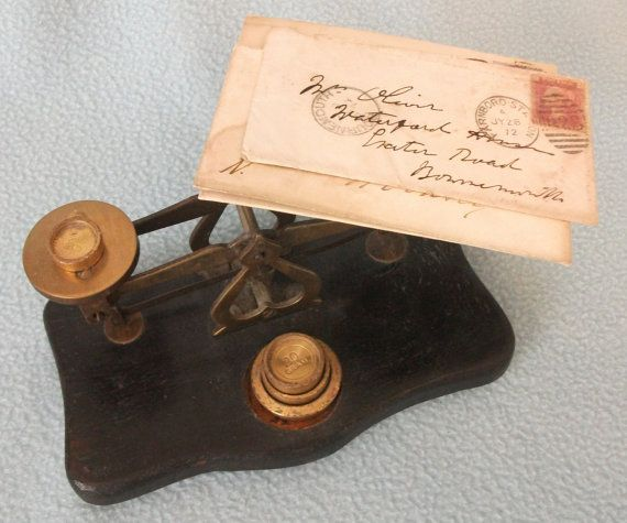 Antique Brass Postal Scales Weights and Letters by AToasttothePast, £24.99