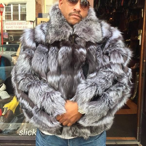 65da93fe1 Winter Fur Men's Full Silver Fox Bomber Fur Coat | Men Fur Coats in ...