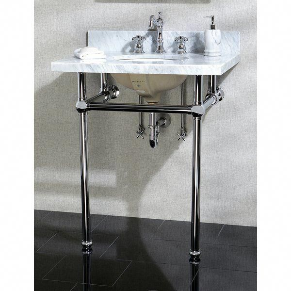 fascinating 30 Inch Console Sink Part - 12: Add a luxurious console sink and leg set to your bathroom. With a durable  construction, this set includes a Carrara marble top, ceramic sink, ...