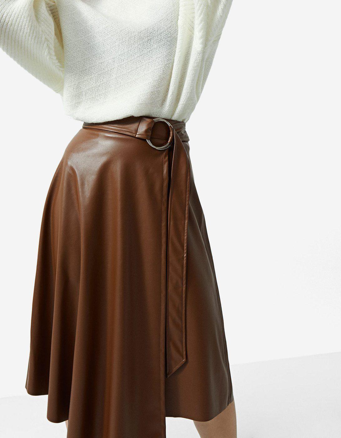 17ab1b342f29 Faux leather asymmetric midi skirt - Sijonai | Stradivarius Lithuania