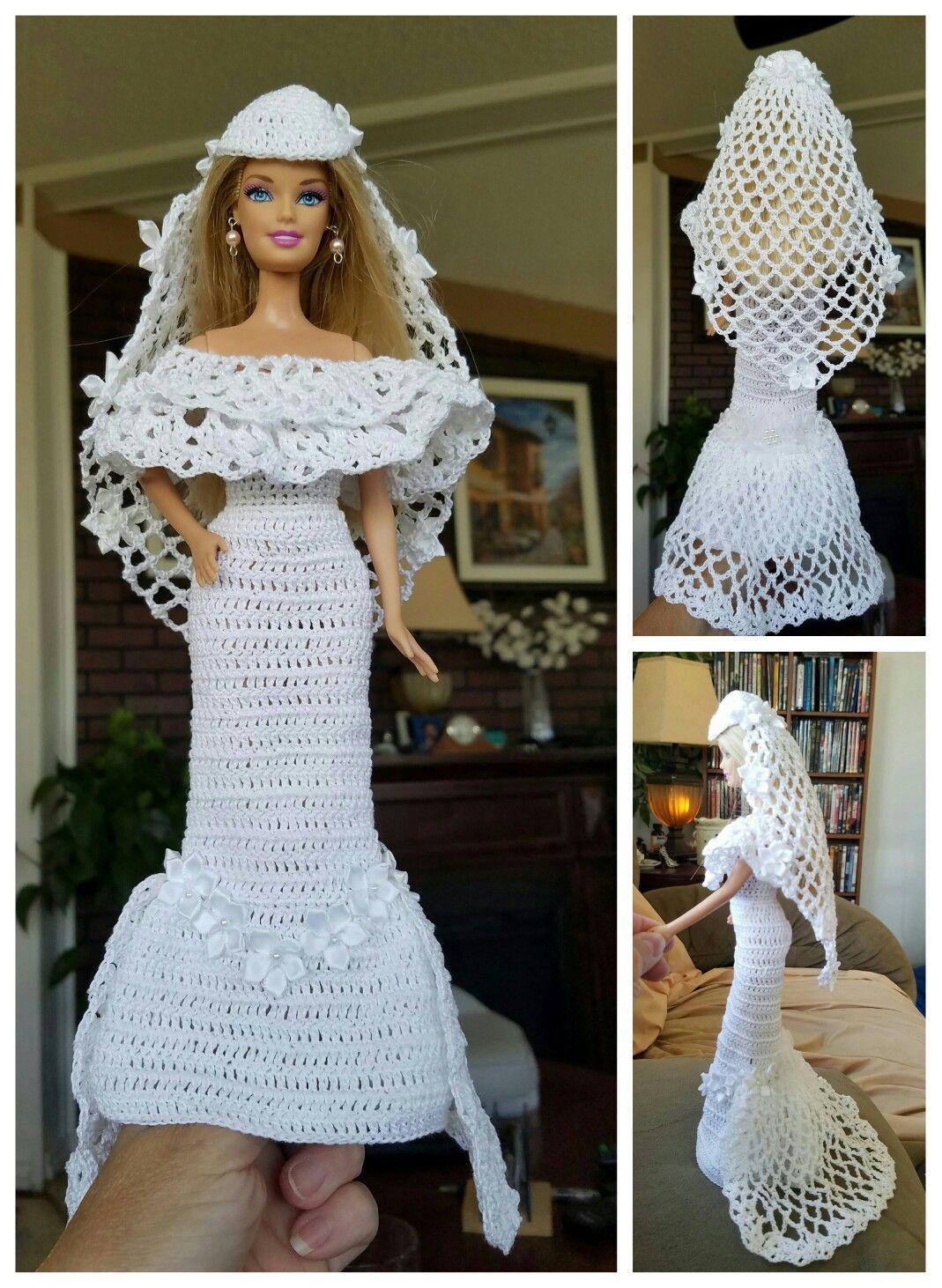 No pattern Barbie dress, Crochet barbie clothes, Barbie