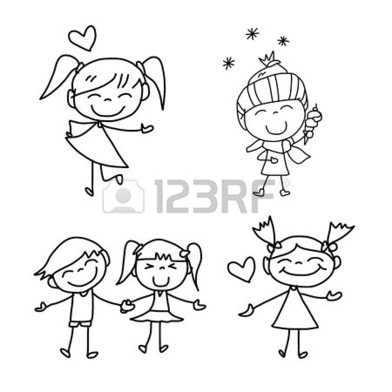 Disegni Da Colorare Di Bambini Che Si Tengono Per Mano.Disegno A Mano Cartoon Bambini Felici Che Giocano Disegni A Mano Tatuaggi Bambini Disegni Animati