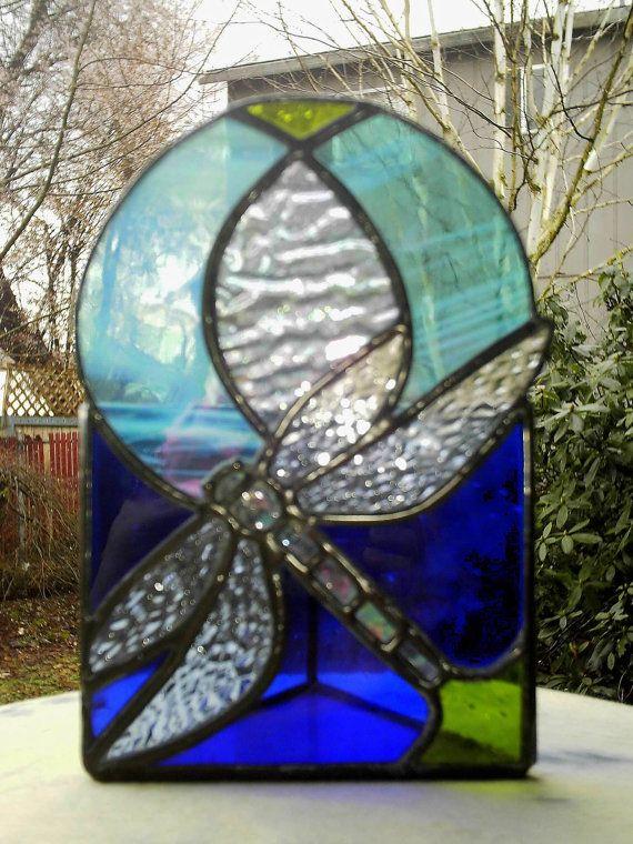 Dragonfly Candle Holder Votive Blue Stained Glass by GlassbonesArt, $80.00