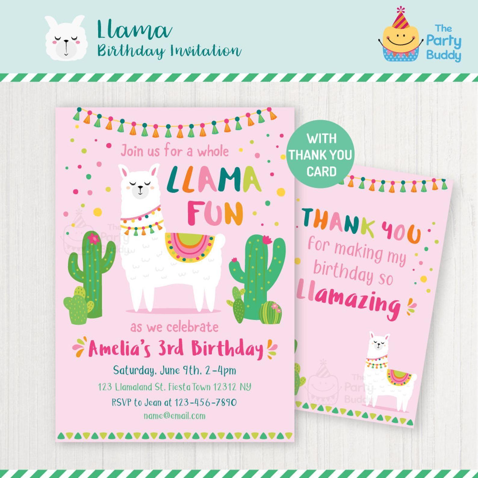 Llama Birthday Party Invitation Girls Alpaca Birthday