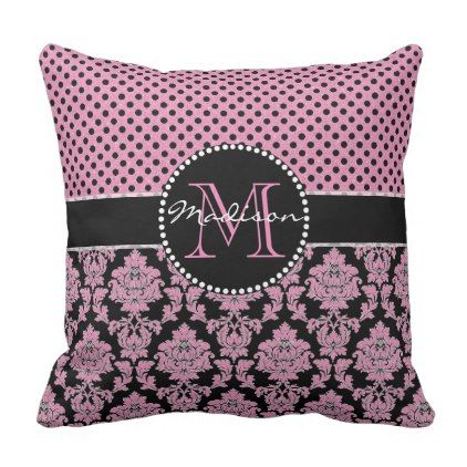 Pink glitter & black damask Pink Black Dots Name Throw Pillow - monogram gifts unique design style monogrammed diy cyo customize