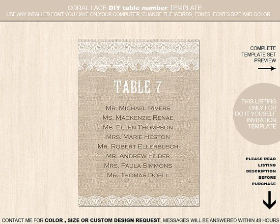 Burlap flower lace table number guest list by YourWeddingTemplates - guest list template