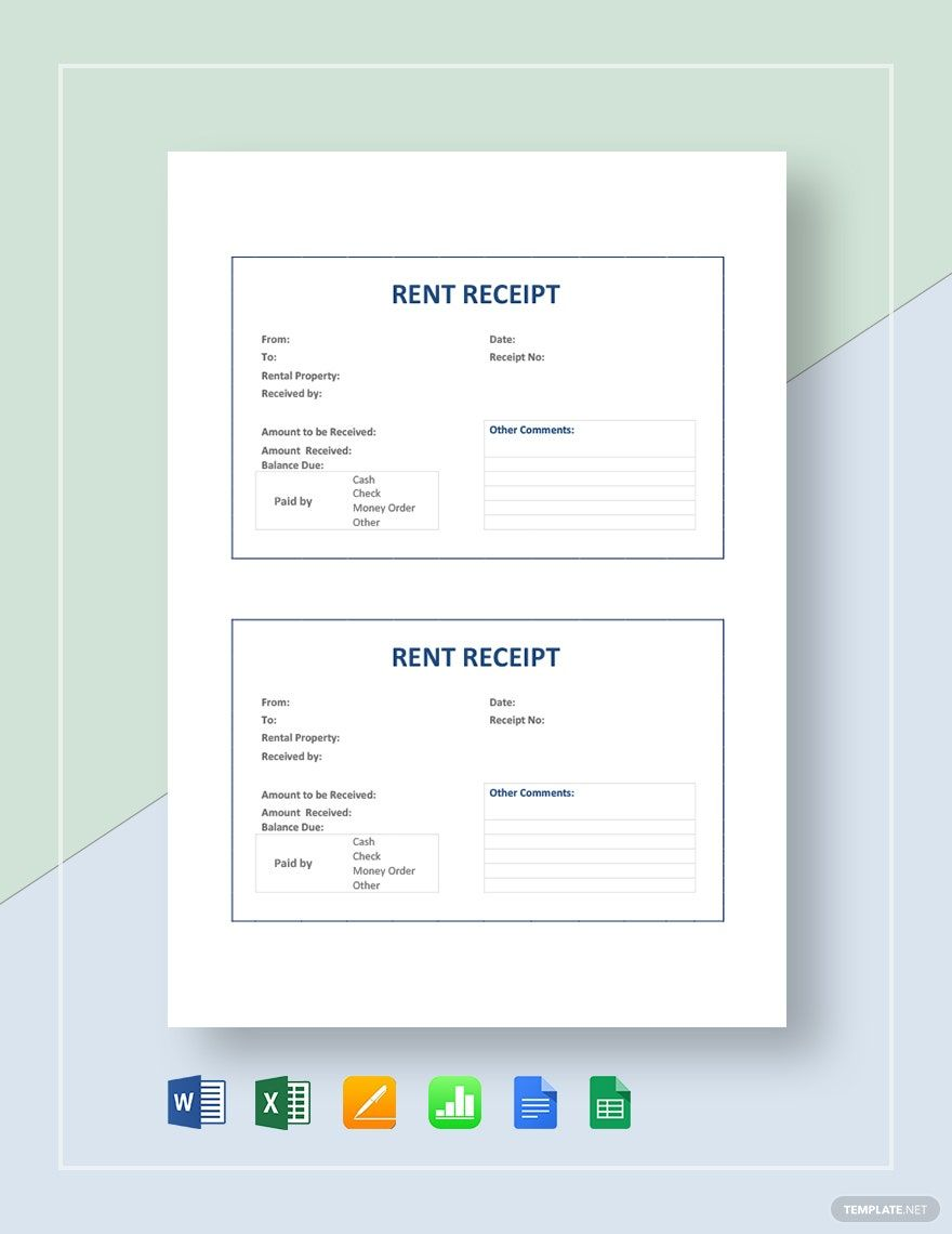 Rent Receipt Template Word Doc Excel Google Docs Apple Mac Pages Google Sheets Apple Numbers Pdf In 2020 Receipt Template Word Doc Word Template