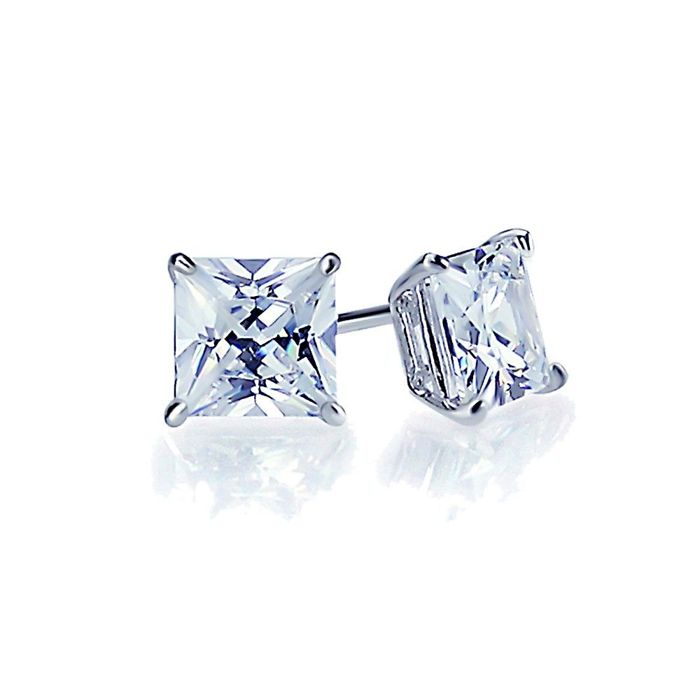 sterling diamond stud cut square earrings clear products princess prong set silver cz