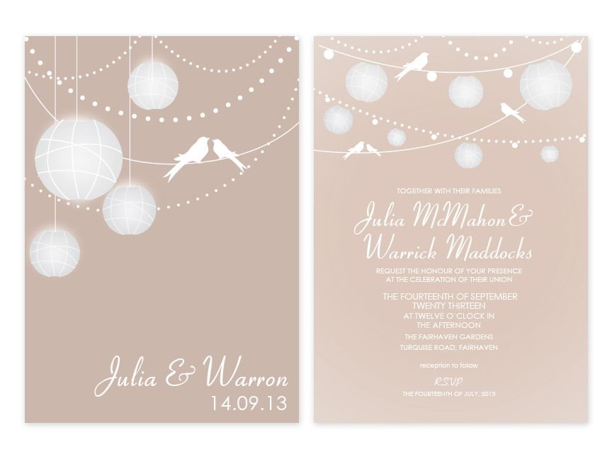 Lanterns Personalised Wedding Invitations (available in many ...