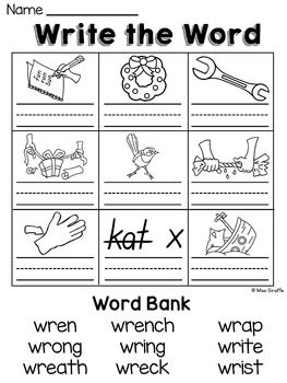 WR KN GN (Silent Letters) Worksheets & Activities {NO PREP ...
