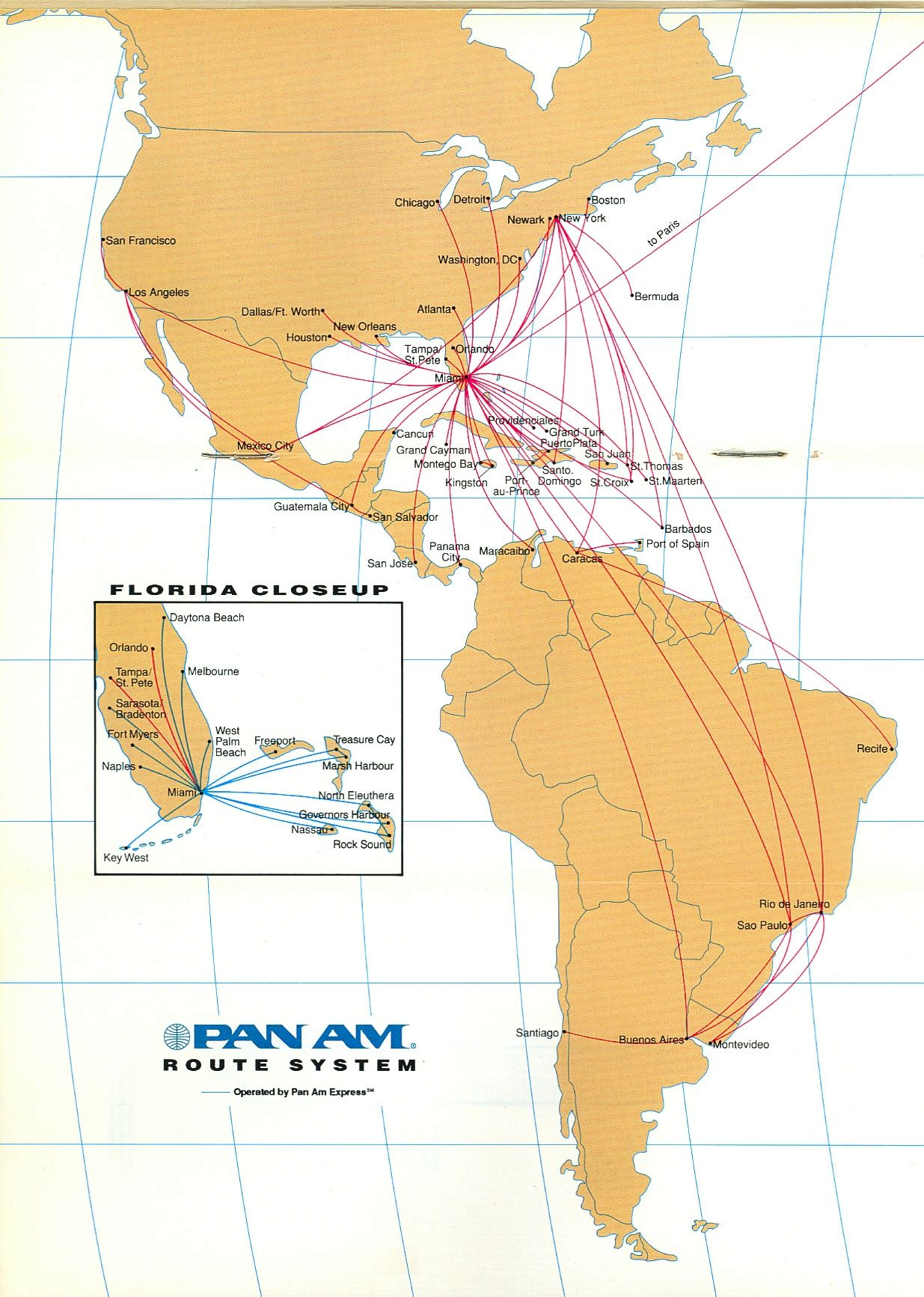Route map - 1991 - after sale of European routes, Frankfurt hub and on